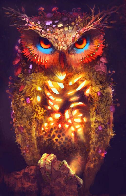 Картина по номерам 40x50 Светящаяся сова
