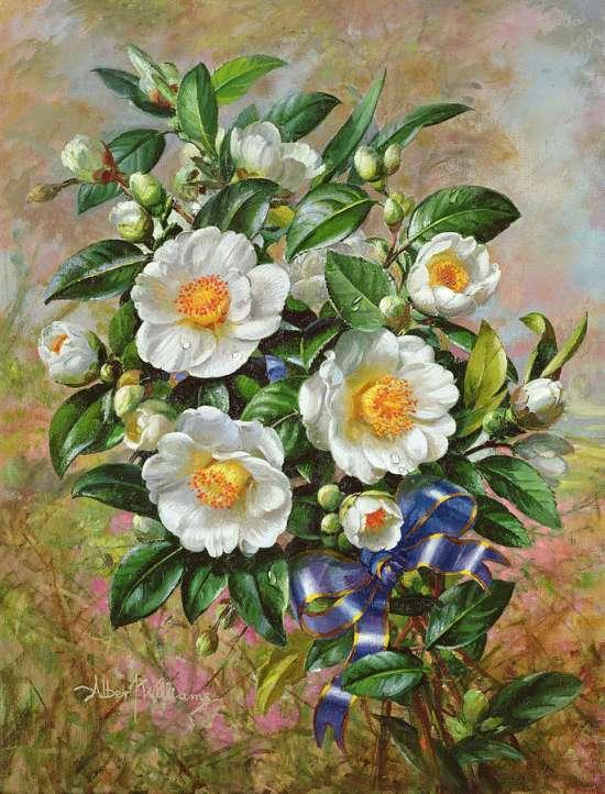 Картина по номерам 40x50 Букет цветов с синей лентой