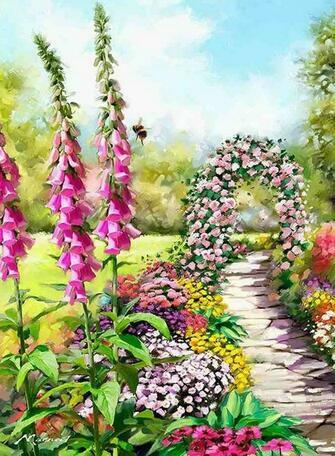 Картина по номерам 40x50 Цветочная тропа с аркой