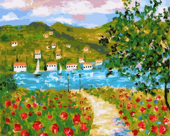 Картина по номерам 40x50 Маковое поле с видом на деревню у озера