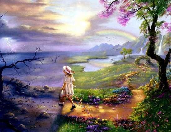 Картина по номерам 40x50 Девочка идет в грозу