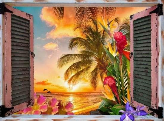 Картина по номерам 40x50 Вид из окна на закат у моря