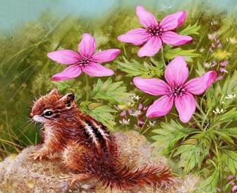 Картина по номерам 40x50 Бурундук в цветах