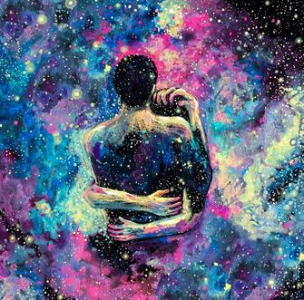 Картина по номерам 40x50 Любовь среди звезд