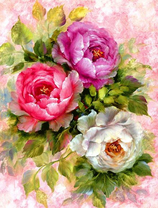 Картина по номерам 40x50 Три полных розы