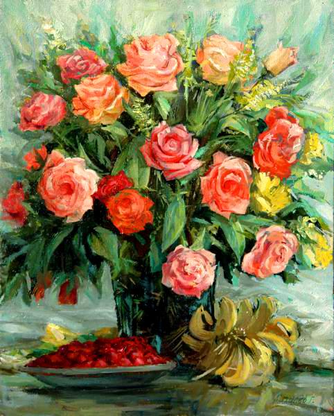 Картина по номерам 40x50 Букет розовых роз и ягоды