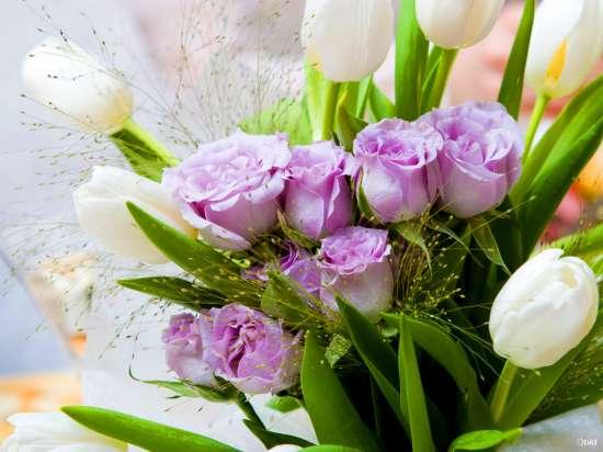 Картина по номерам 40x50 Букет из роз и тюльпанов