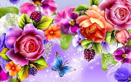 Картина по номерам 40x50 Яркие цветы и бабочка