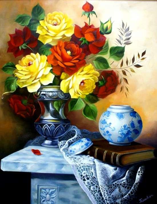 Картина по номерам 40x50 Натюрморт с букетом пышных роз