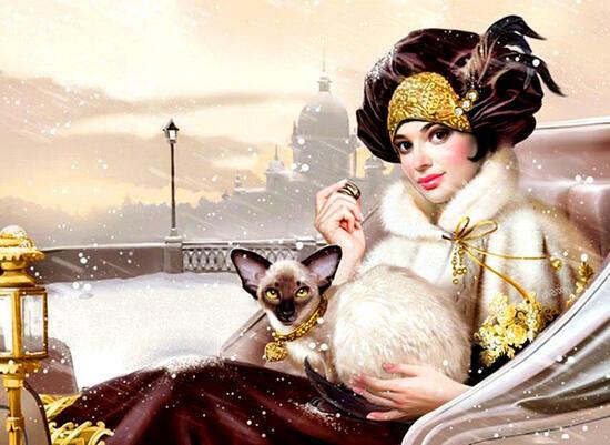 Картина по номерам 40x50 Дама в карете с кошкой
