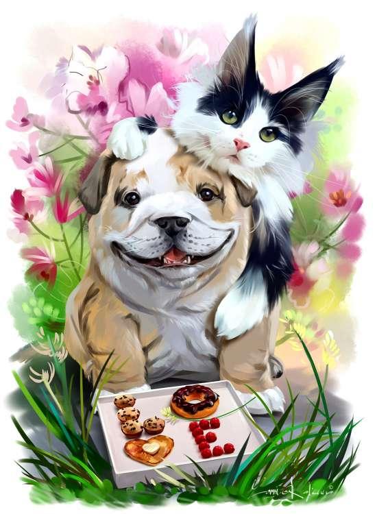 Картина по номерам 40x50 Пес и кот с пончиками