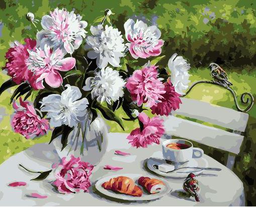 Картина по номерам 40x50 Букет пионов, кофе и круассан