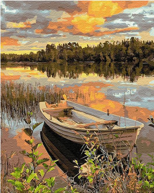 Картина по номерам 40x50 Лодка на реке