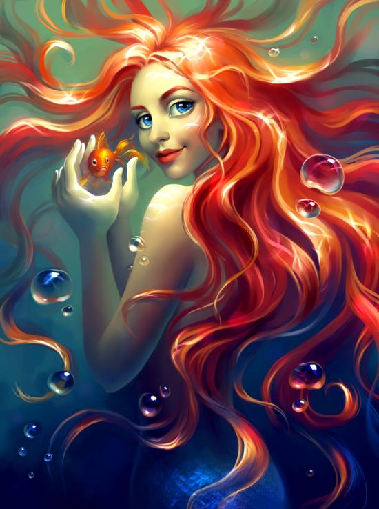 Картина по номерам 40x50 Русалка с рыжими волосами