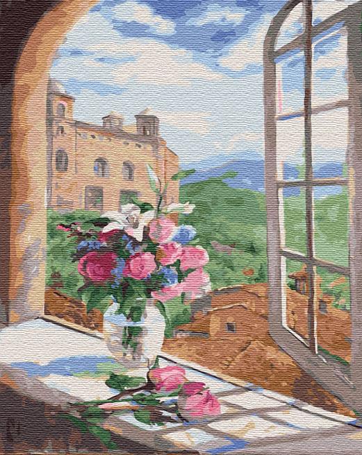 Картина по номерам 40x50 Букет роз и лилий на окне замка