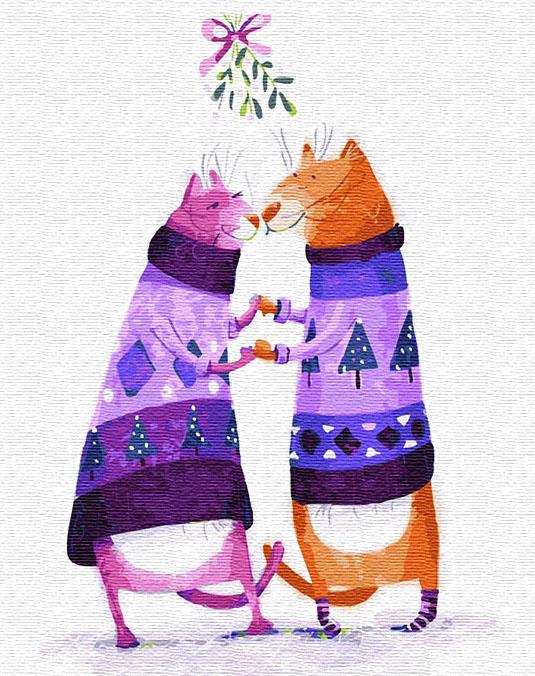 Картина по номерам 40x50 Кот и кошка в свитерах