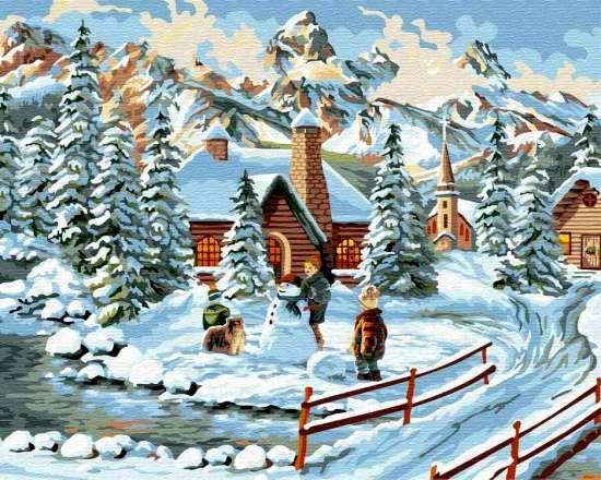 Картина по номерам 40x50 Зимние деревенские забавы