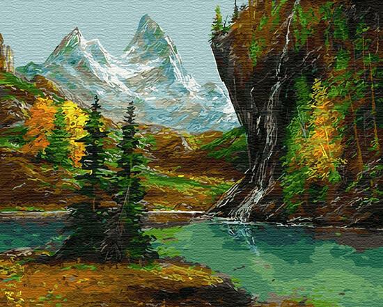 Картина по номерам 40x50 Скалистая местность в осенней красе