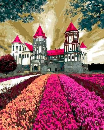 Картина по номерам 40x50 Замок с малиновой кровлей