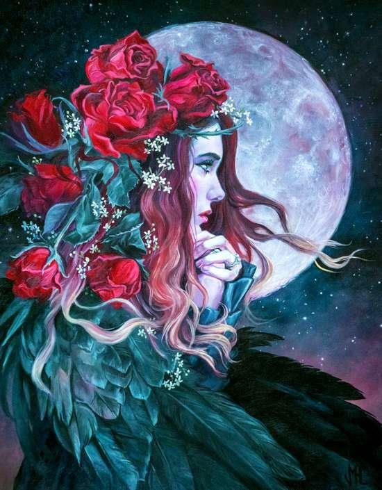 Картина по номерам 40x50 Девушка с розами в волосах на фоне луны