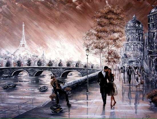 Картина по номерам 40x50 Прогулка по набережной Парижа