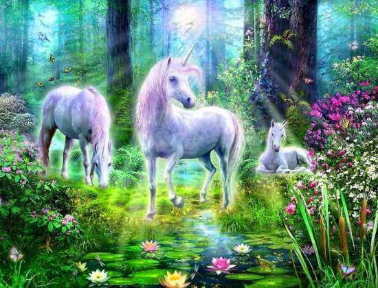 Картина по номерам 40x50 Единороги в лунном лесу