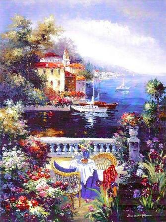Картина по номерам 40x50 Терраса с видом на море