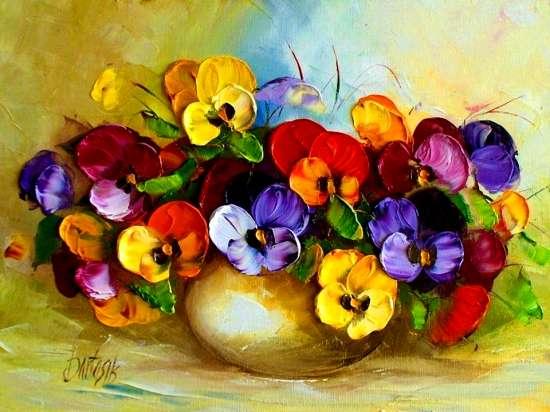 Картина по номерам 40x50 Анютины цветочки