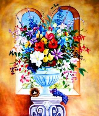 Картина по номерам 40x50 Букет цветов на пьедестале