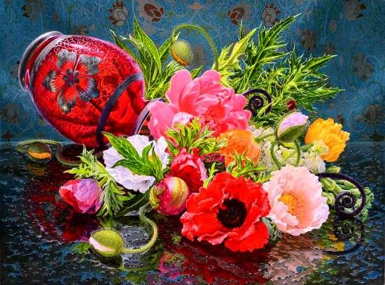 Картина по номерам 40x50 Яркий букет разноцветов