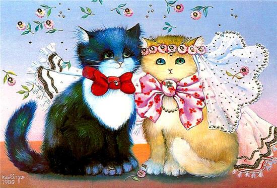 Картина по номерам 40x50 Нарядная свадьба котов