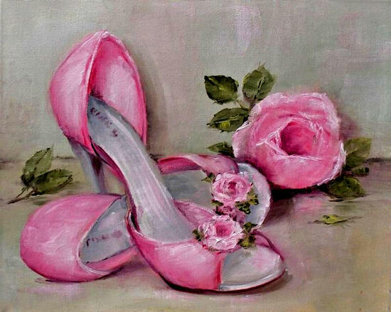 Картина по номерам 40x50 Туфельки и роза