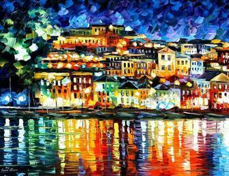 Картина по номерам 40x50 Отражение ночного города в реке