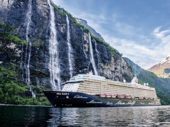 Картина по номерам 40x50 Круизный лайнер у водопада