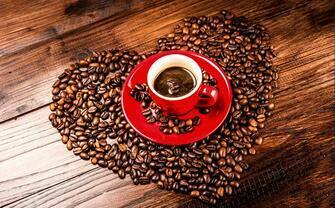 Картина по номерам 40x50 Чашка  зернового кофе и сердце