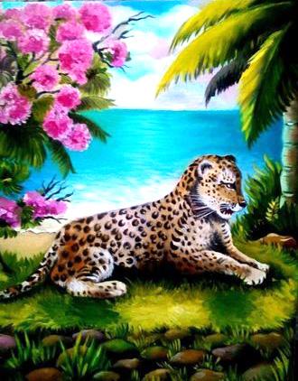 Картина по номерам 40x50 Леопард рядом с пальмой и цветами