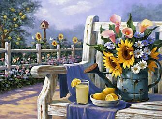 Картина по номерам 40x50 Букет цветов на скамье с лимонадом и лимонами