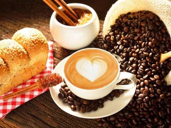 Картина по номерам 40x50 Капучино, булочки и зерна кофе