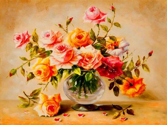 Картина по номерам 40x50 Букет роз в прозрачной вазе