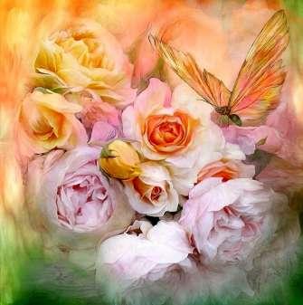 Картина по номерам 40x50 Розы и бабочка в мягких тонах