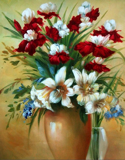 Картина по номерам 40x50 Пестрый букет в глиняной вазе