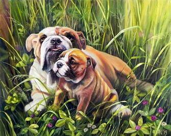 Картина по номерам 40x50 Мама бульдог и ее щенок
