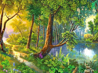 Картина по номерам 40x50 Лесная тропинка у реки