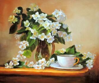 Картина по номерам 40x50 Чашка чая и букет жасмина