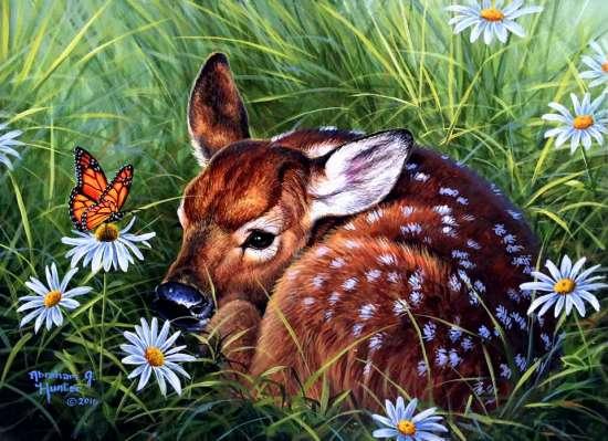 Картина по номерам 40x50 Оленёнок и бабочка