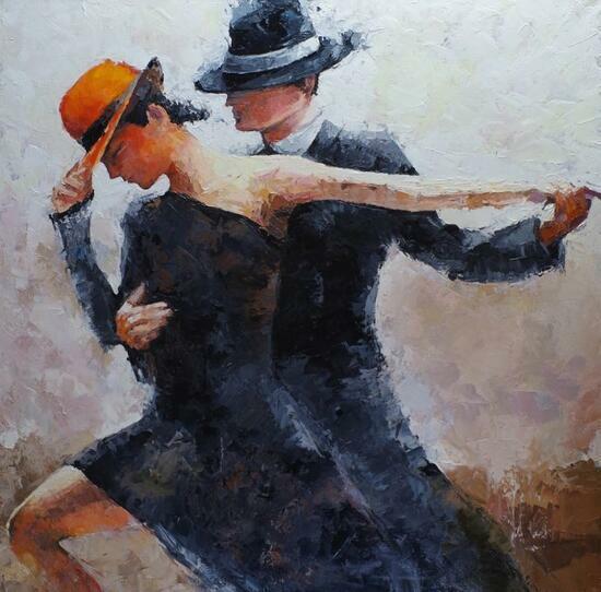 Картина по номерам 40x50 Танец пары в шляпе