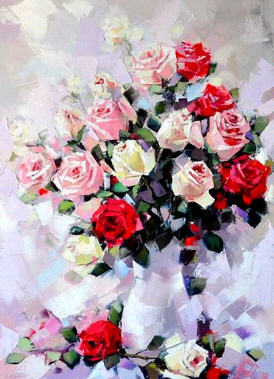 Картина по номерам 40x50 Букет из разнообразных роз