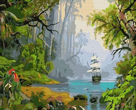 Картина по номерам 40x50 Корабль в Джунглях
