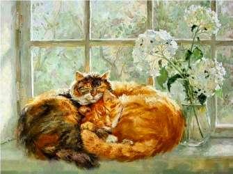 Купить два кота и белые цветы за 890 руб. в Москве