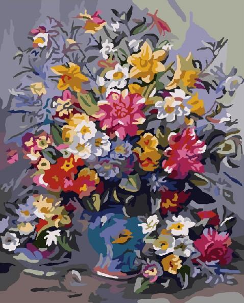 Картина по номерам 40x50 Летний букет цветов в голубой вазе
